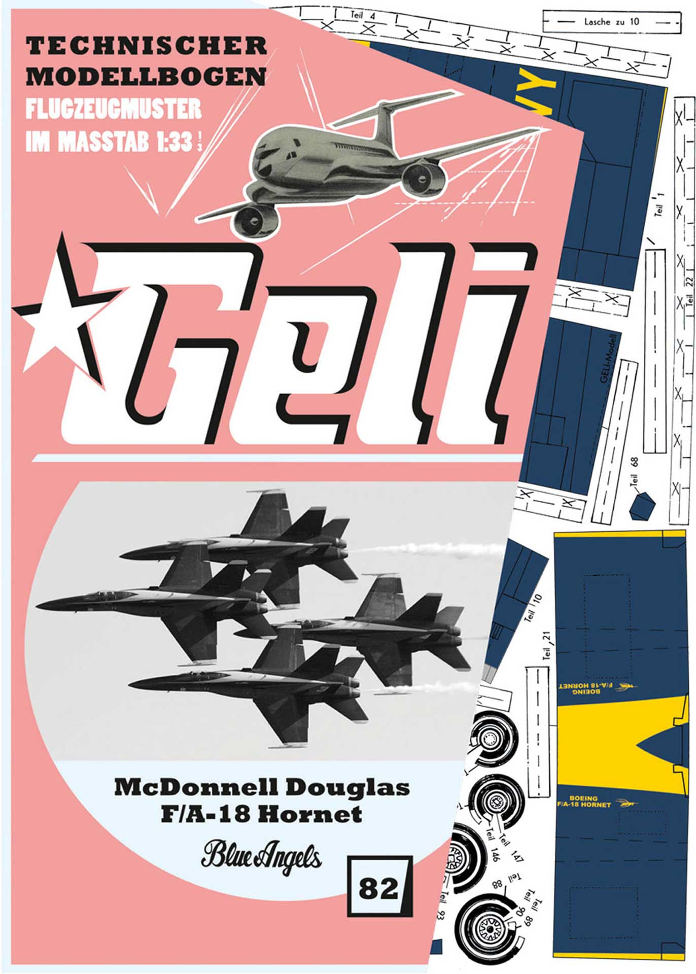 "GELI MC DONELL DOUGLAS F-18 ""BLUE ANGELS"" # 82 KARTONMODELL"
