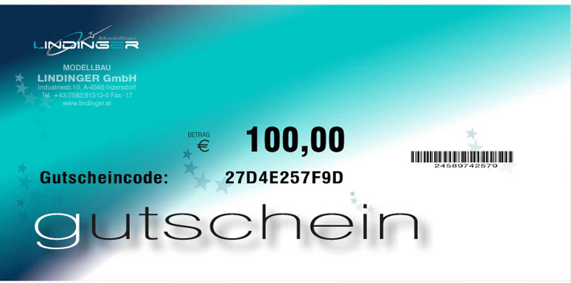 MODELLBAU LINDINGER E-VOUCHER LINDINGER 100,- EURO PDF PER E-MAIL