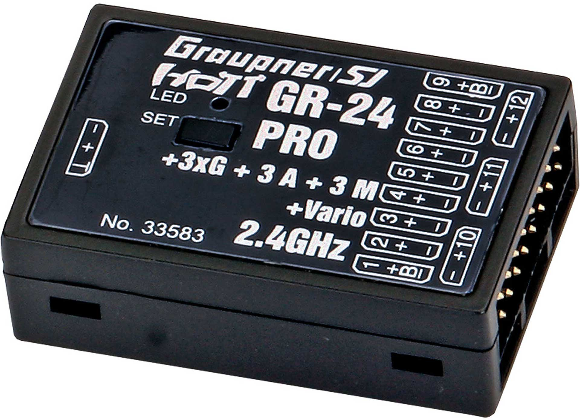 GRAUPNER GR-24 PER 3XG + 3A + 3M + VARIO 2,4GHZ HOTT WITH 3-AXIS GYRO AND VARIO RECEIVER
