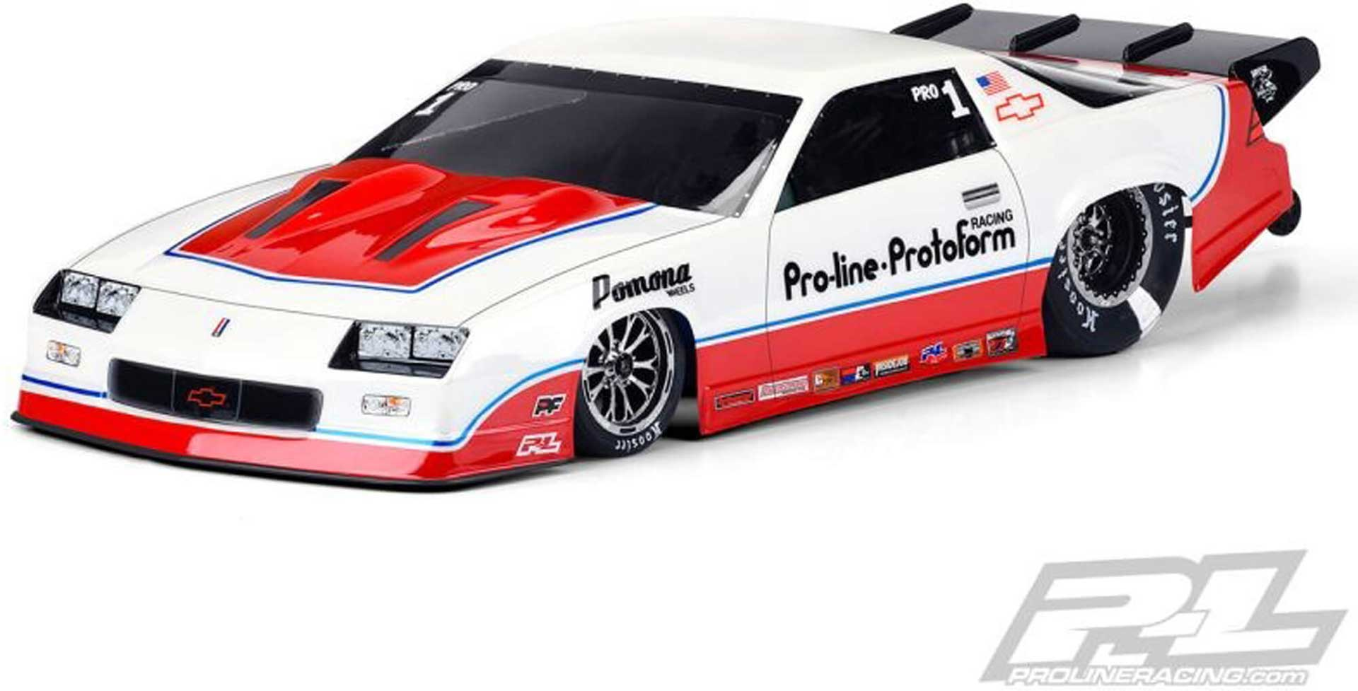 PROLINE 1985 Chevy Camaro Iroc-Z Karosserie für Slash 2WD Drag-Car (unlackiert)