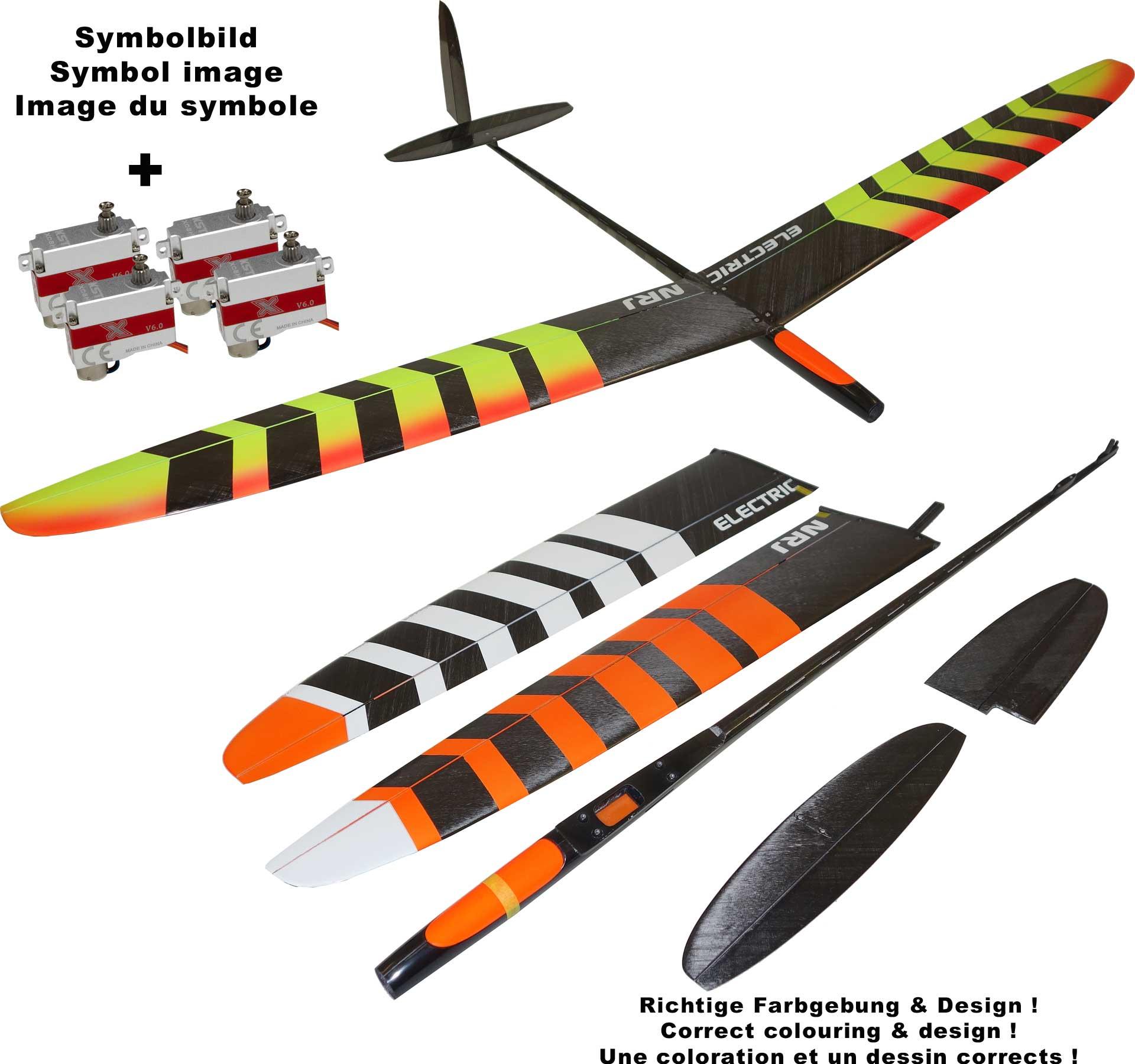 OA-Composites NRJ F5K Electric + KST X08H Servosset Farbe # B Weiss/orange