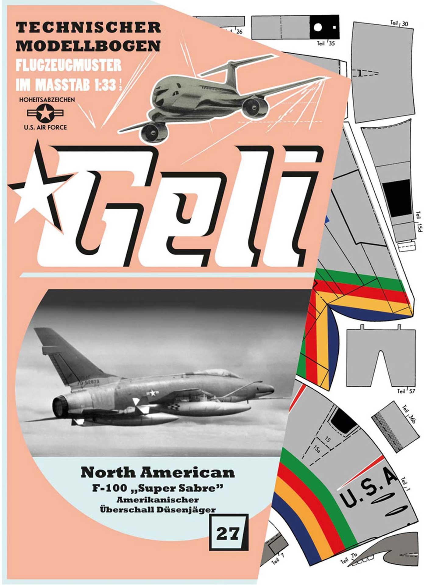 GELI F-100 Super Sabre # 27 KARTONMODELL