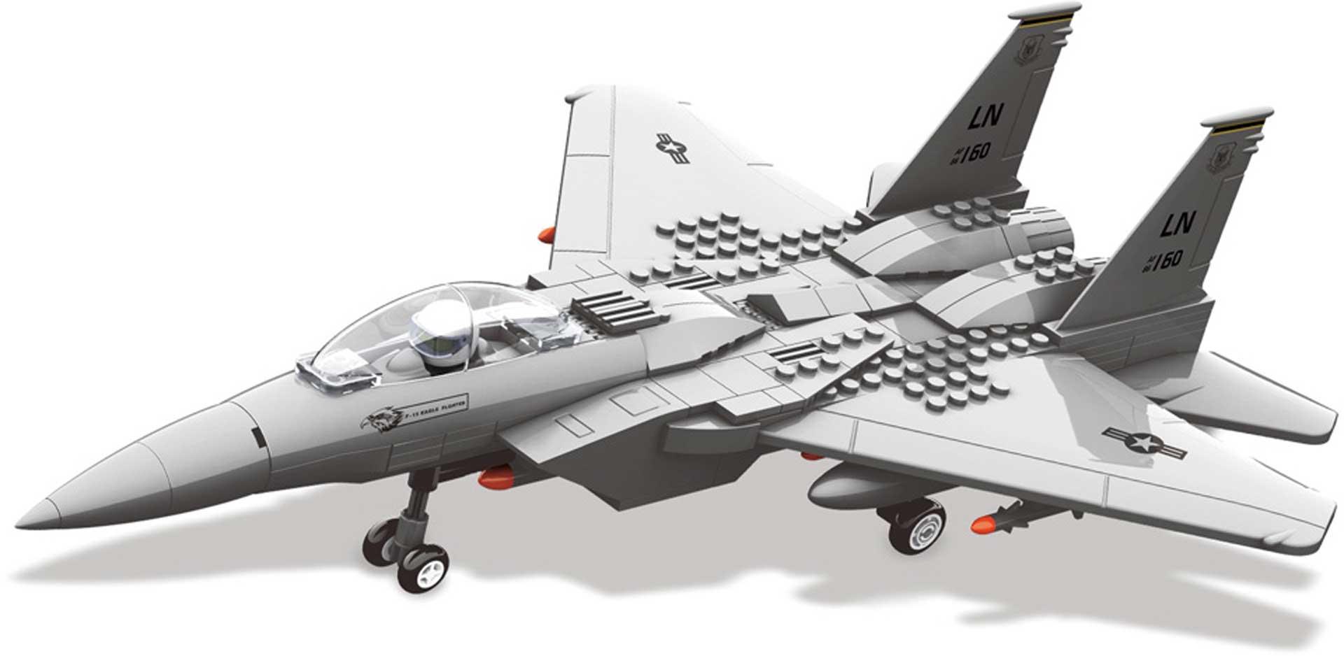Wange F-15 Eagle Jagdflugzeug (262 Teile) Klemmbausteine