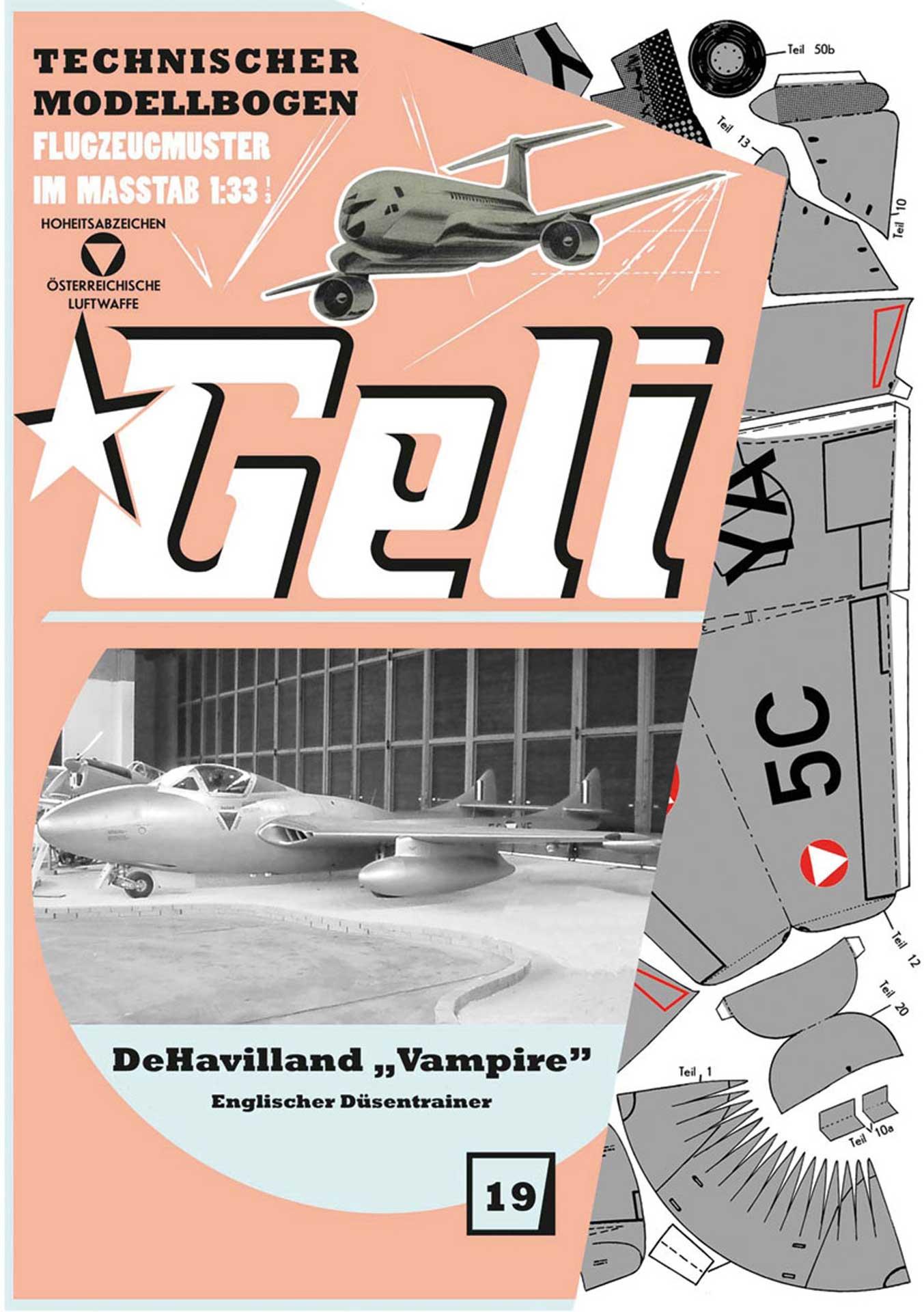 """GELI DeHavilland """"Vampire"""" # 19 KARTONMODELL"""