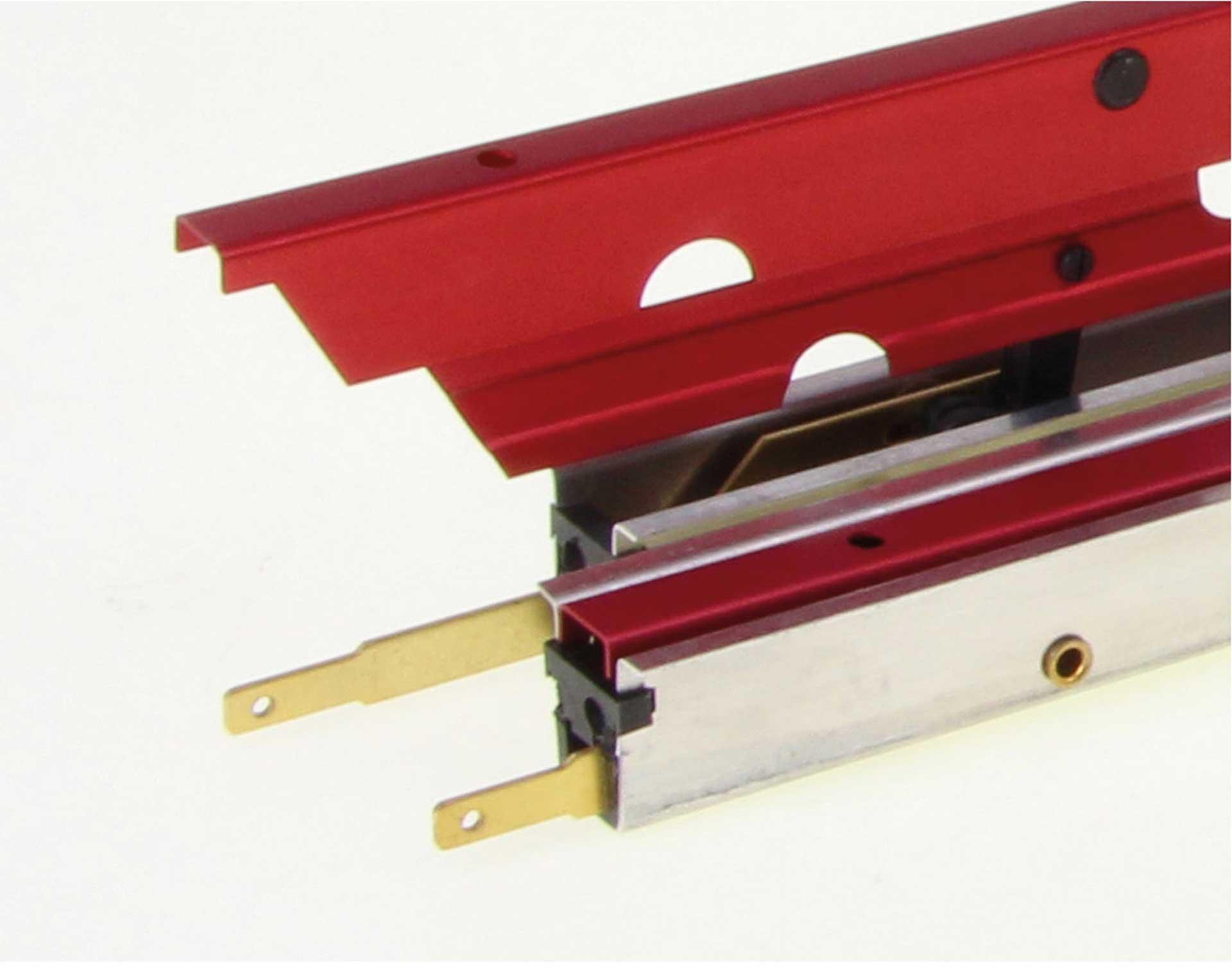 MODELLBAU LINDINGER FLAPS 37CM/16MM RED ANODISED ALUMINIUM DOUBLE LOCKED, OUTSIDE HINGED, SPOILERS