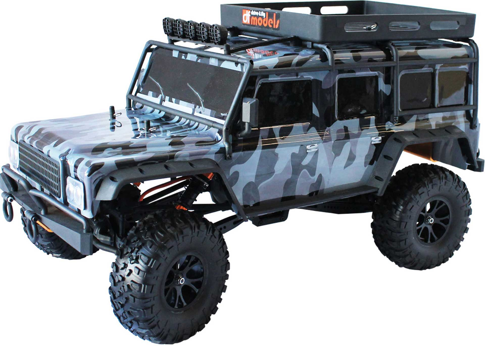 DRIVE & FLY MODELS DF-4J CRAWLER XXL RTR CAMO 4WD 1/10 WITH LIGHTS AND 5CH TRANSMITTER WITH LIG