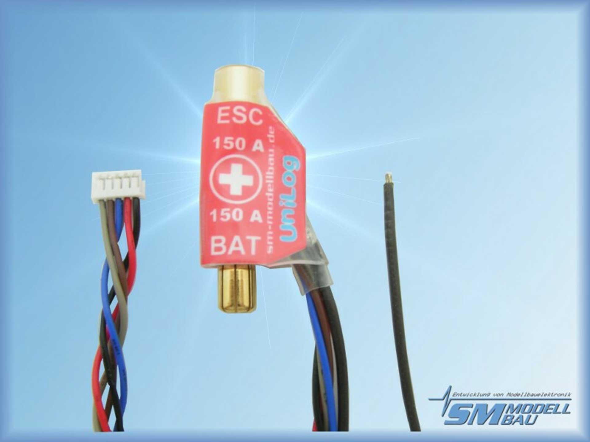 SM-Modellbau Unilog Stromsensor 150A 6mm LMT Goldstecker (für Akkus mit Buchse am Pluspol)