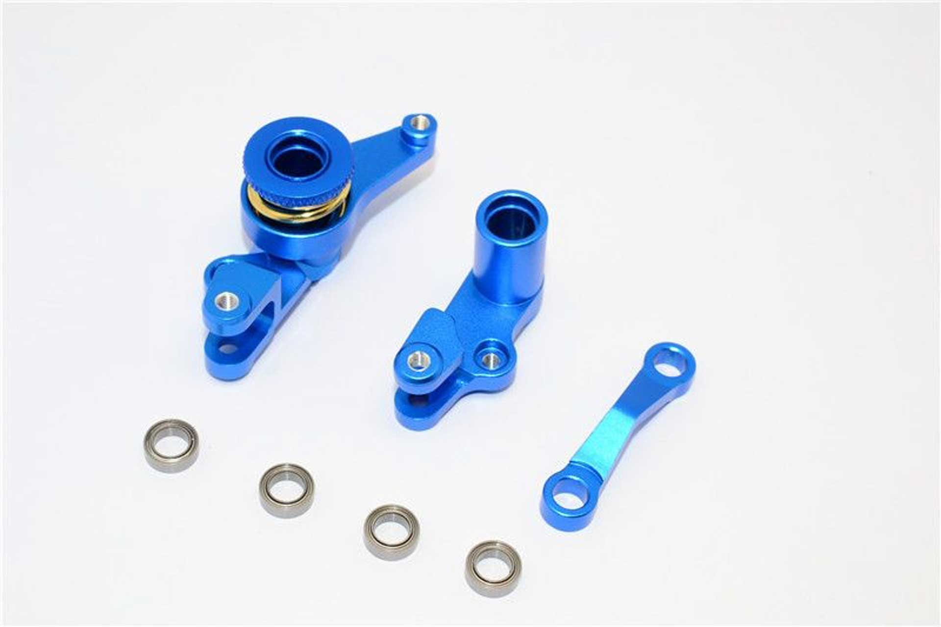ALLOY STEERING ASSEMBLY WITH BEARINGS - 1SET blue GPM TRX 1/10 SLASH 4x4 RALLY STAMPEDE/RUSTL