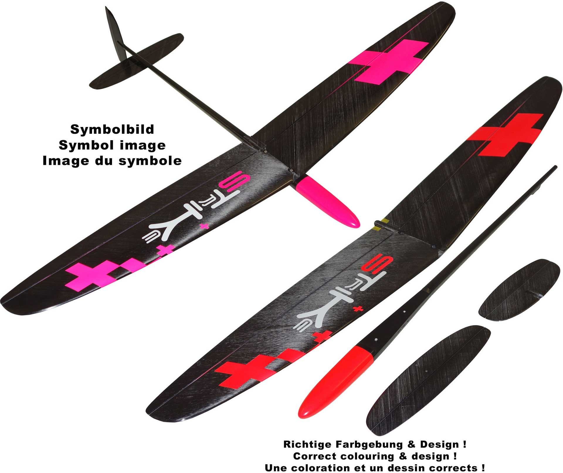 "OA-Composites Strike 3 Mini DLG Ejection Glider Colour # B (""Plus"" Red)"
