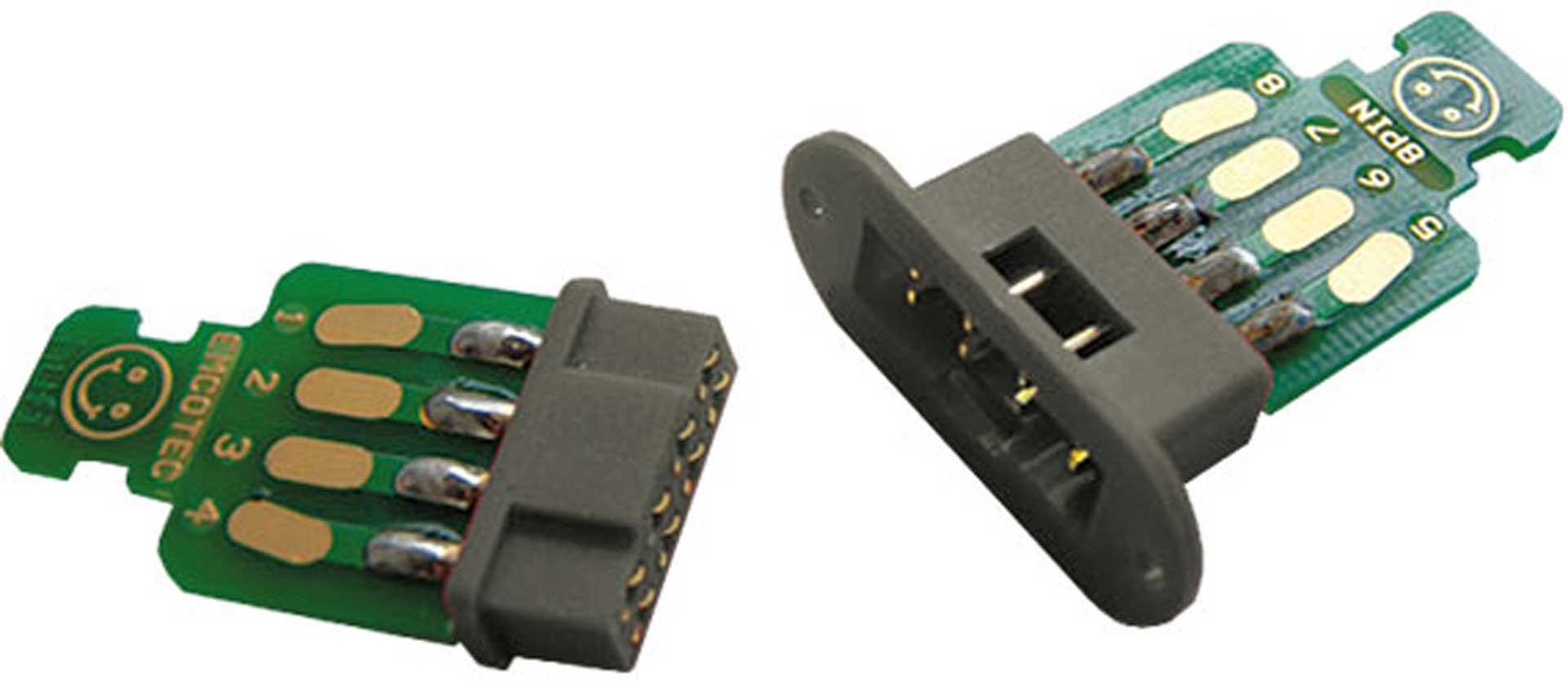 EMCOTEC CONNECTEURS POUR AILES 8 POLES 2 PAIRES, CONNECTEURS AVEC PLATINES ET FIXATIONS