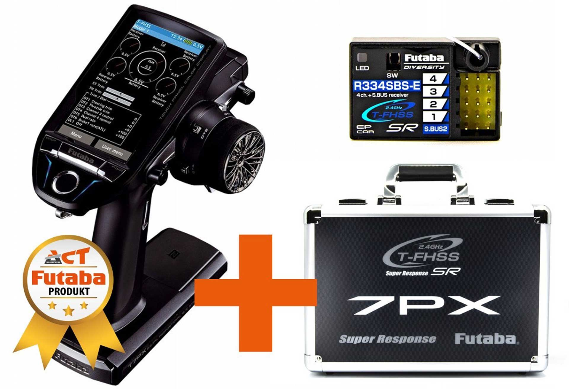 FUTABA T7PX 7-CHANNEL T-FHSS SR WITH R334SBS-E AND TRANSMITTER CASE