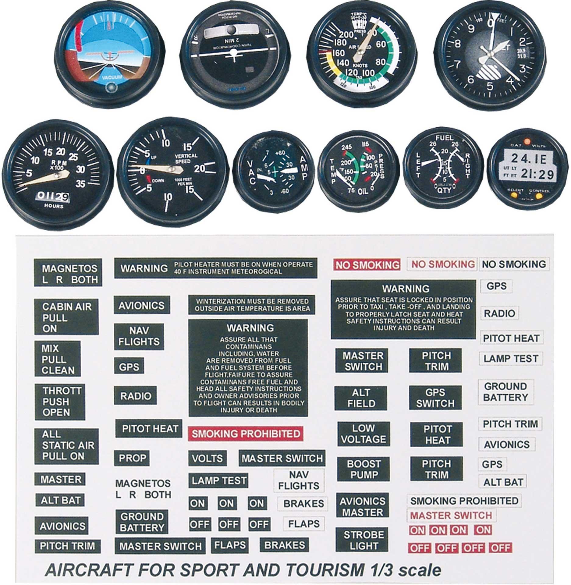 PLANET-HOBBY Scale Instrumente 1/3 für Sportflugzeuge