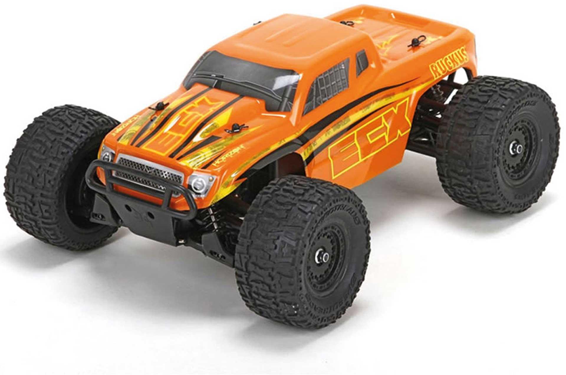 ECX RUCKUS 1/18TH 4WD MONSTER TRUCK ORANGE GELB RTR