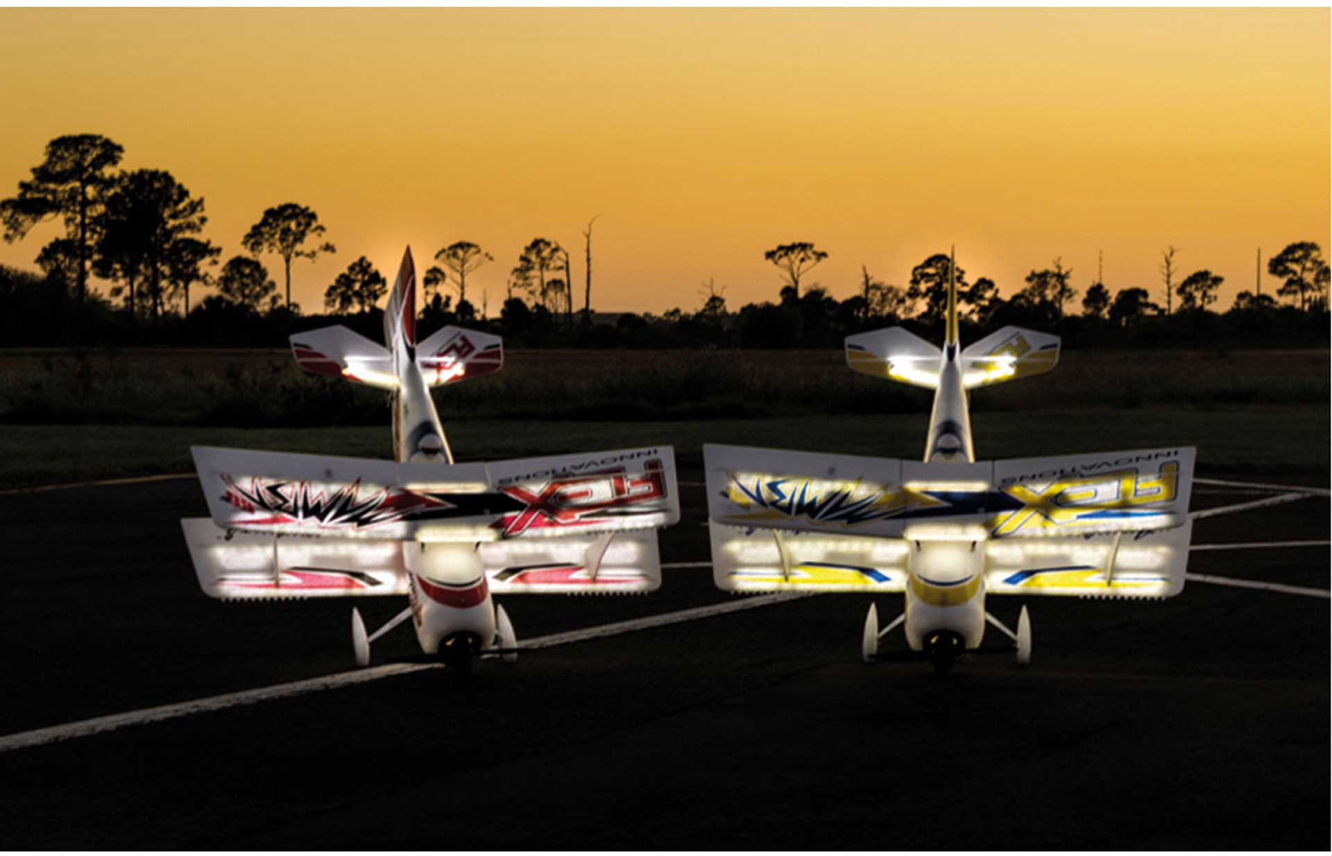 PREMIER AIRCRAFT MAMBA 60 E+ YELLOW/BLUE PNP NIGHT WITH AURA 8 AND LED LIGHTING DOUBLE DECKER