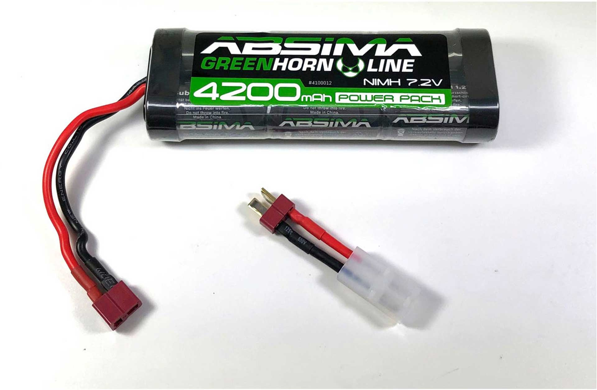 ABSIMA GREENHORN NIMH STICK PACK 7.2V 4200MAH BATTERY WITH T-PLUG CONNECTOR + TAMIYA ADAPTER