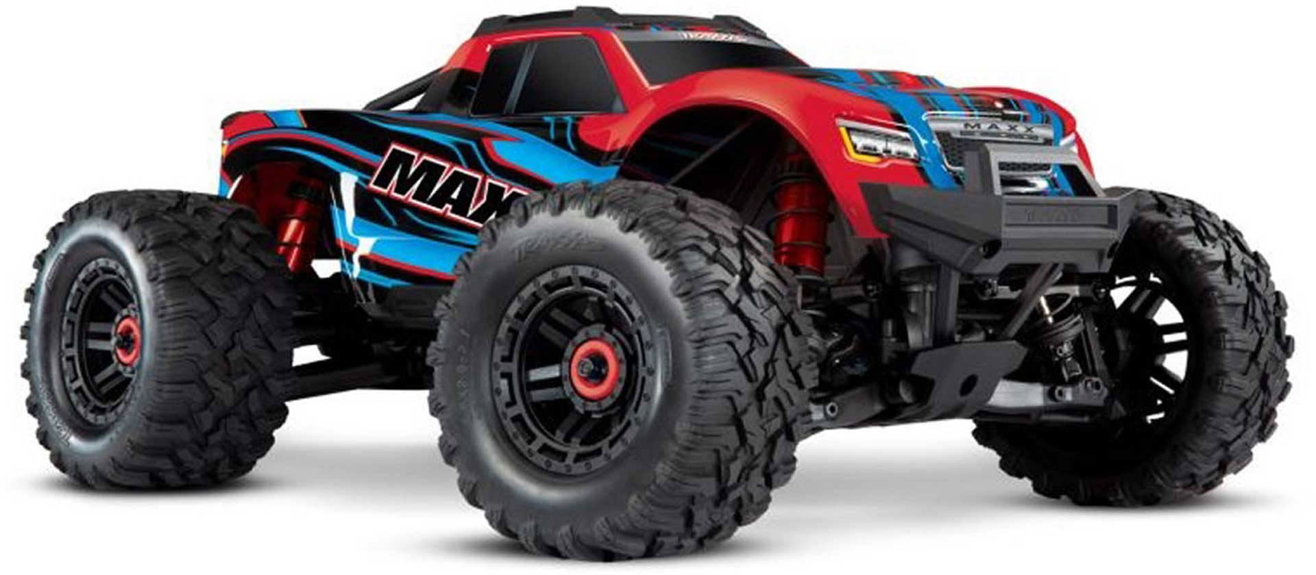 TRAXXAS MAXX RED/BLUE 1/10 RTR TSM SR VXL-4S WITHOUT BATTERY AND CHARGER