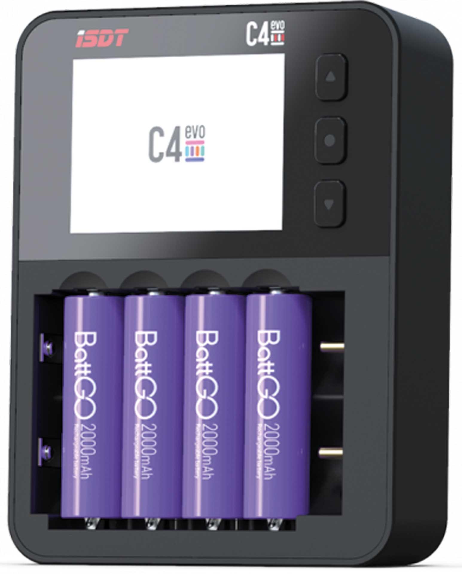 ISDT C4 Evo 4x AAA / AA oder 18650 / 26700 Li-F e/Li-Ion für USB-C Versorgung Ladegerät