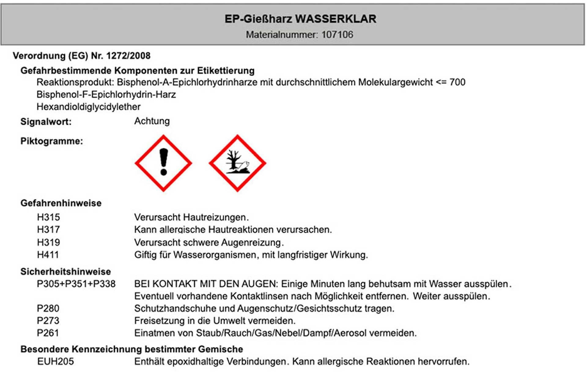 R&G EP-GIEßHARZ + HÄRTER W300 WASSERKLAR 1,35 KG