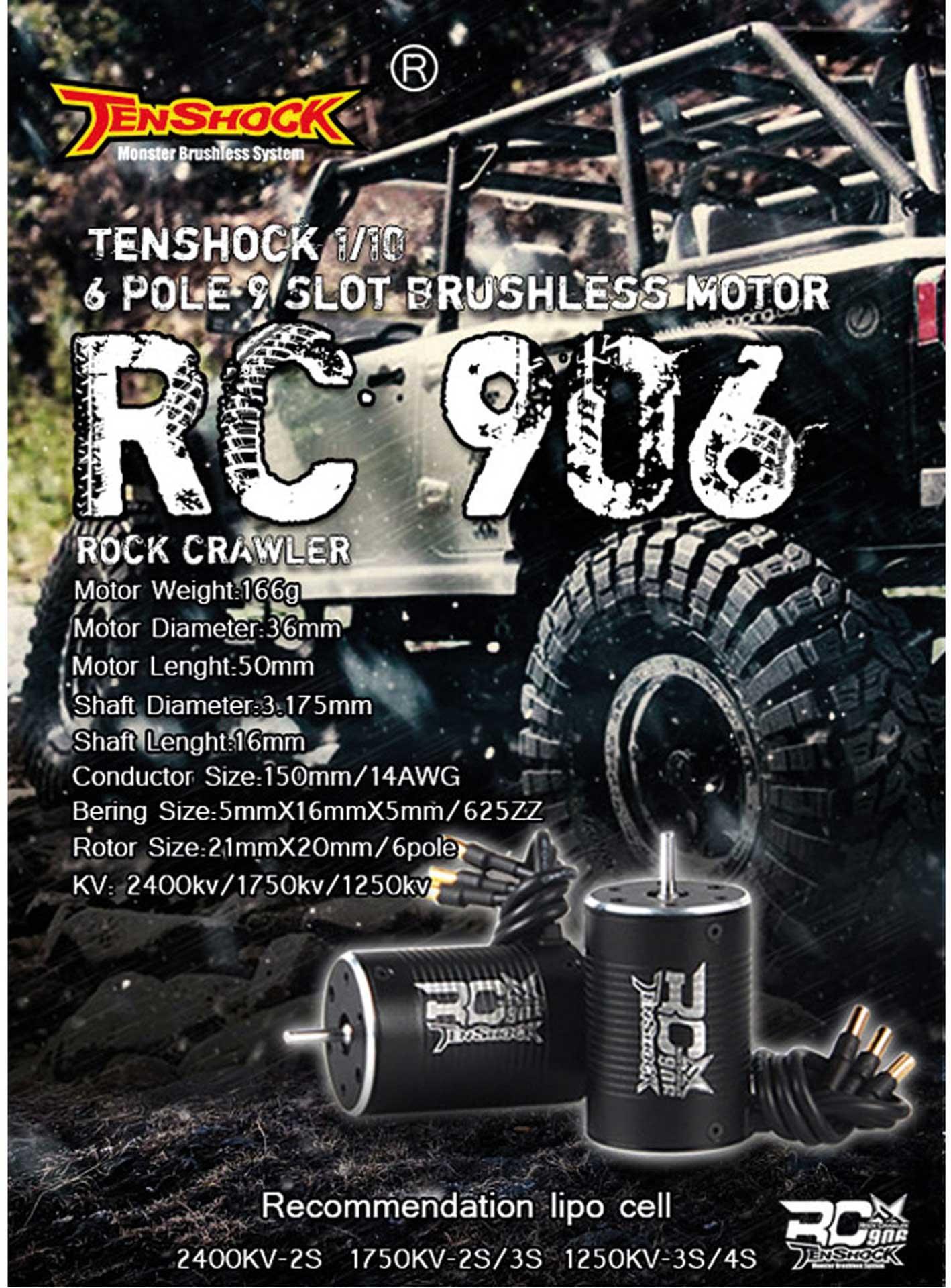 TENSHOCK RC906 1250KV BRUSHLESS MOTOR