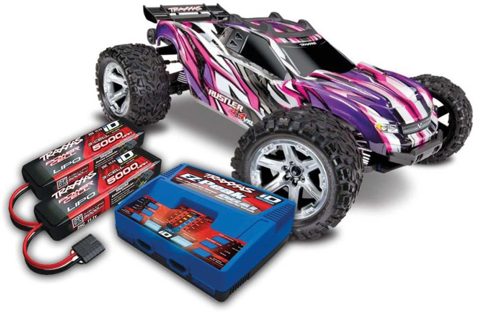 TRAXXAS RUSTLER 4X4 VXL BRUSHLESS PINK RTR MIT AKKU/LADER-SET *AKTION* 1/10 4WD STADIUM TRUCK (TRX67076-4 + TRX2990GX)