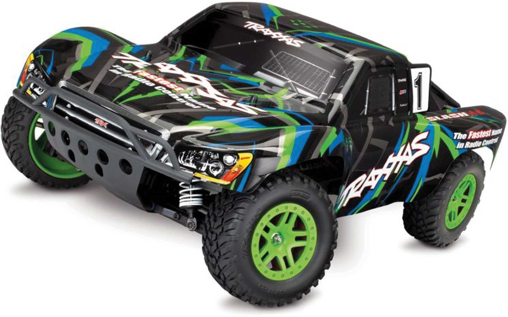 Traxxas SLASH 4X4 GRÜN/BLAU RTR +12V-LADER+AKKU 1/10 4WD SHORT-COURSE-RACE-TRUCK BRUSHED