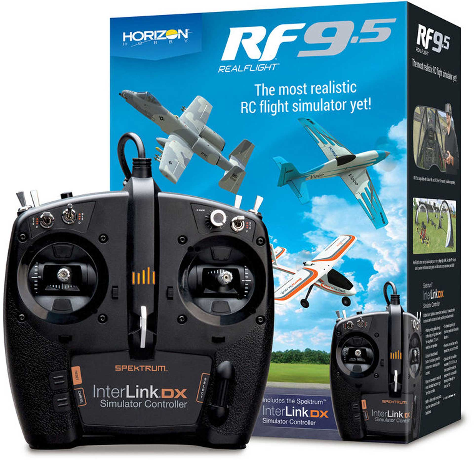 REALFLIGHT RF 9.5 Flugsimulator Software inkl. Spektrum Interlink DX Controller