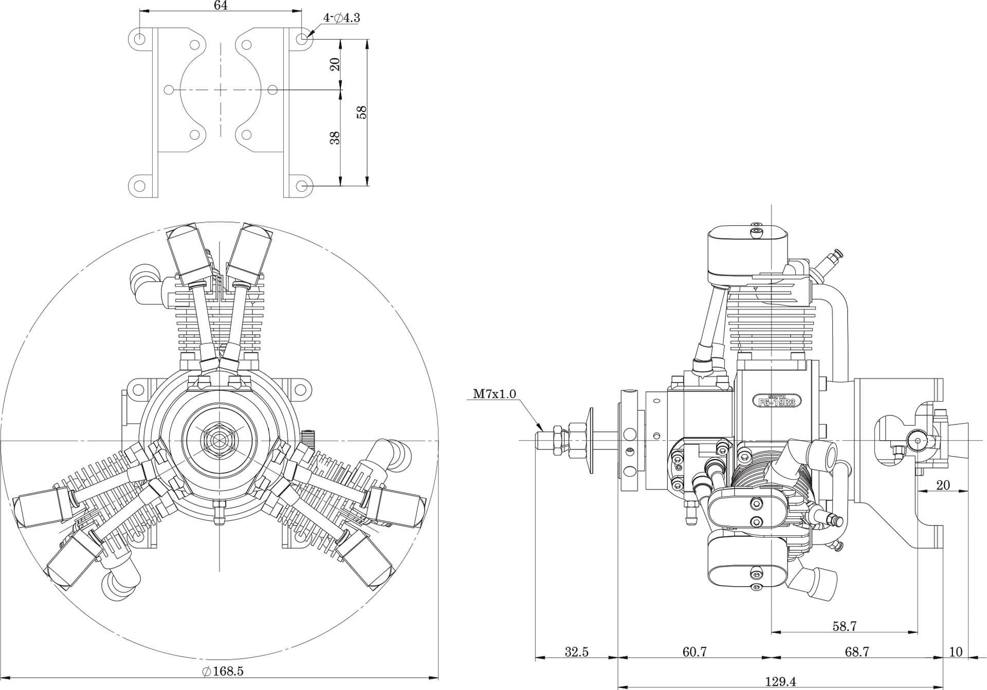 SAITO FG-19R3 BENZIN STERNMOTOR 3-ZYLINDER