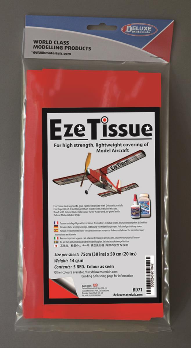 DELUXE Eze Tissue Rot Bespannpapier 75x50xm 5Stk. ab 12,5 g/m²