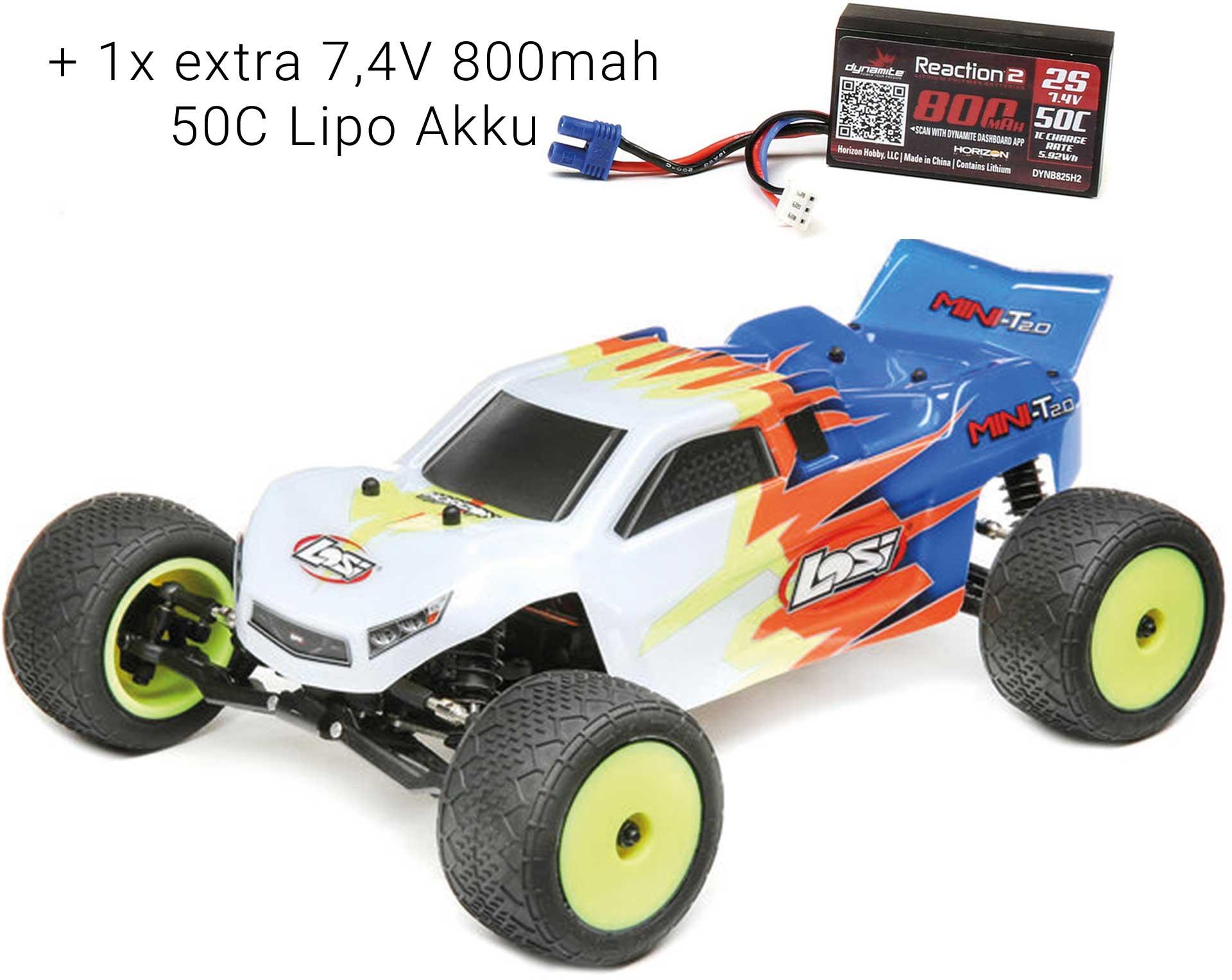 LOSI Mini-T 2.0 1/18 2WD RTR Brushed Blau/Weiß + 1x extra 7,4V 800mah 50C Lipo Akku *SVR*
