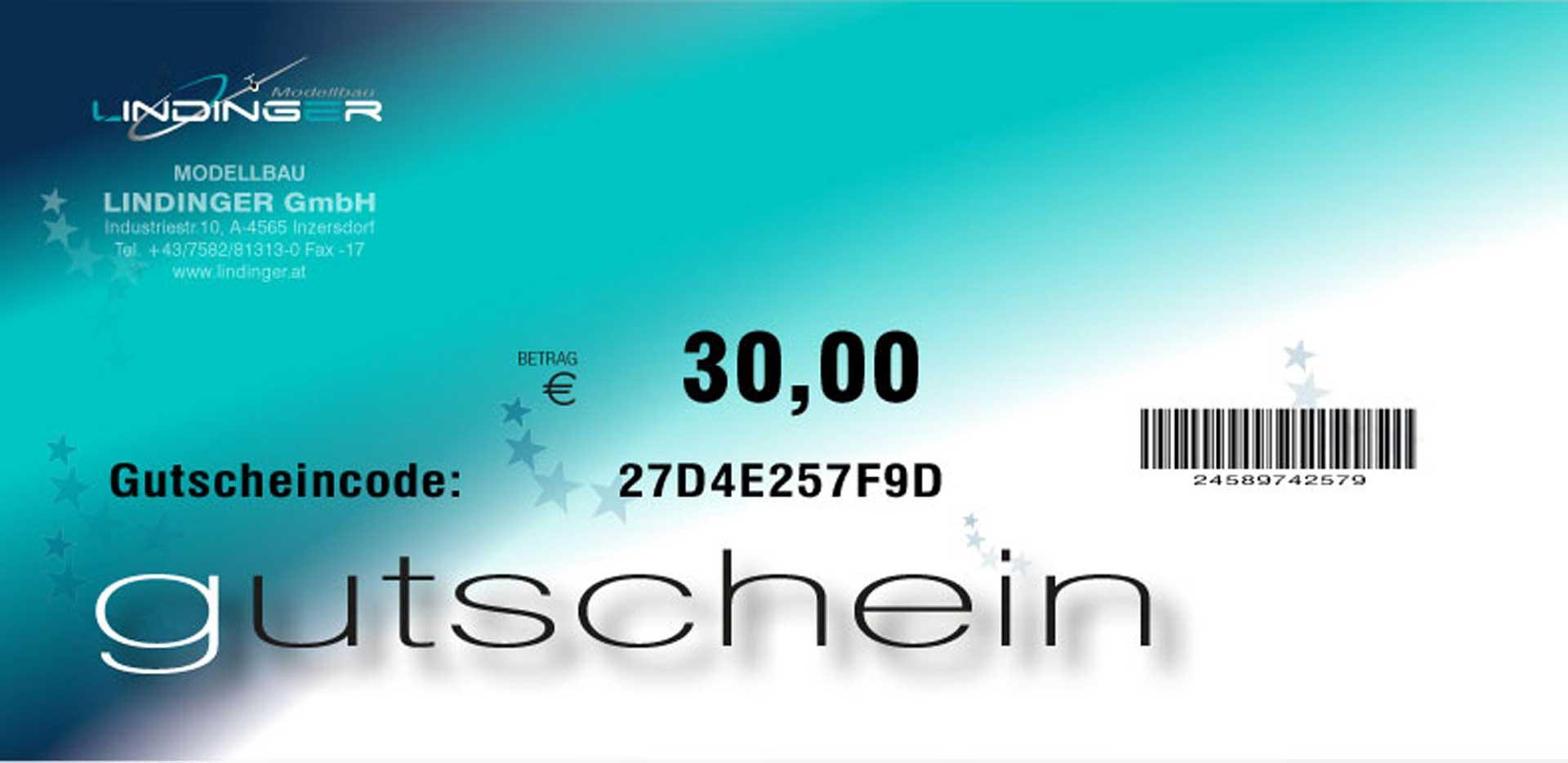 MODELLBAU LINDINGER E-GUTSCHEIN LINDINGER 30,- EURO PDF